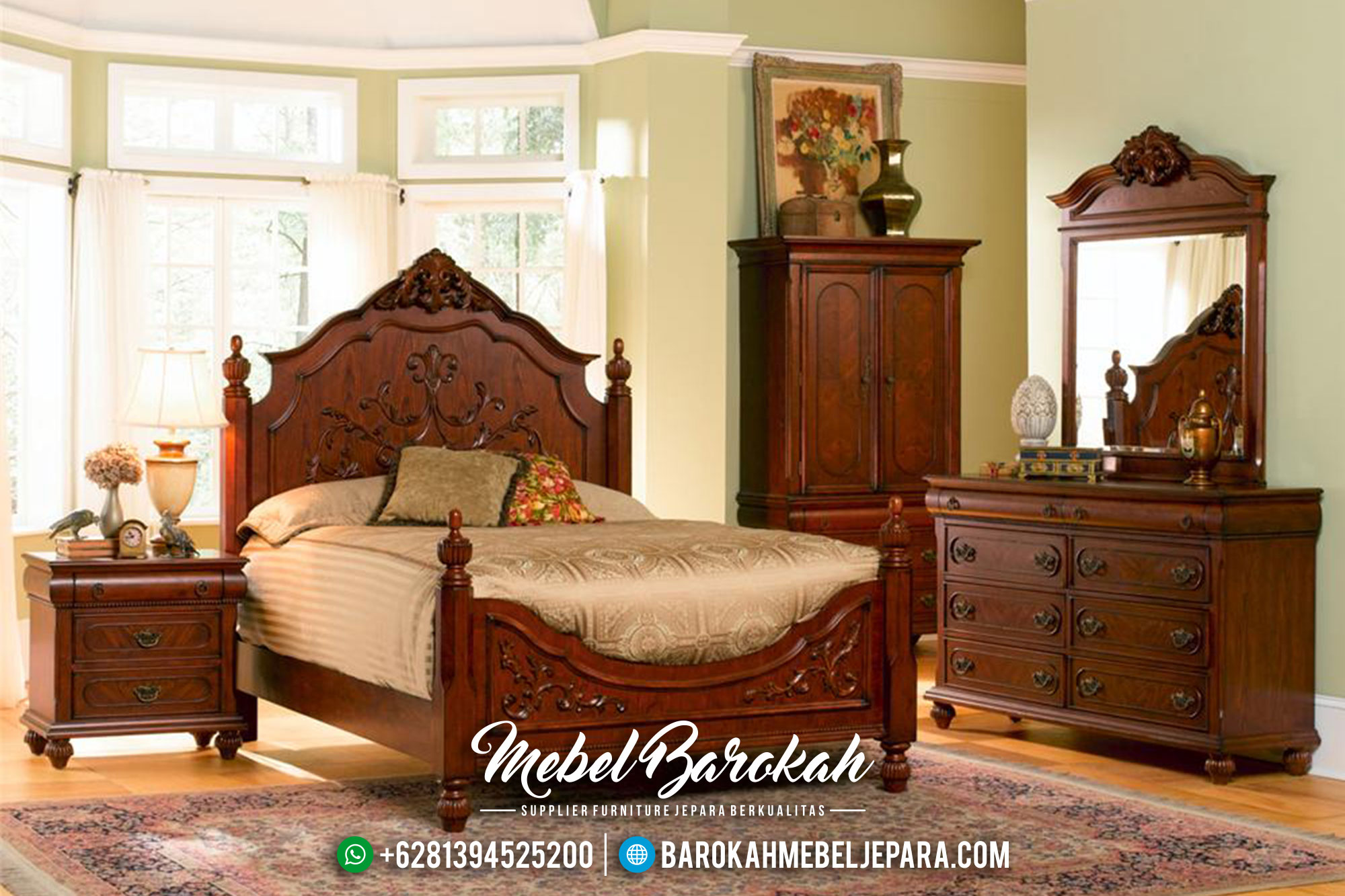 Set Kamar Tempat Tidur Minimalis Jati Jepara Terbaru Mb 0018