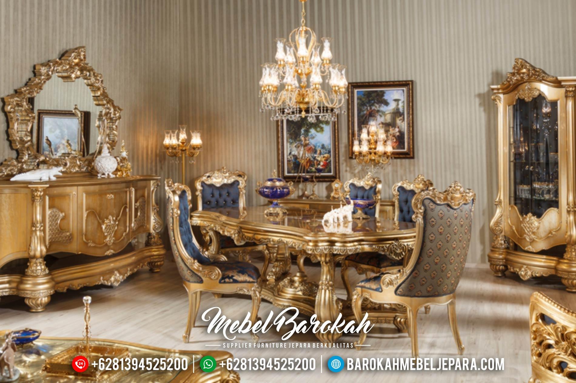 Meja Makan Mewah Terbaru, Set Meja Makan Jepara Mewah, Mebel Jepara Murah Duco Gold MB-0052