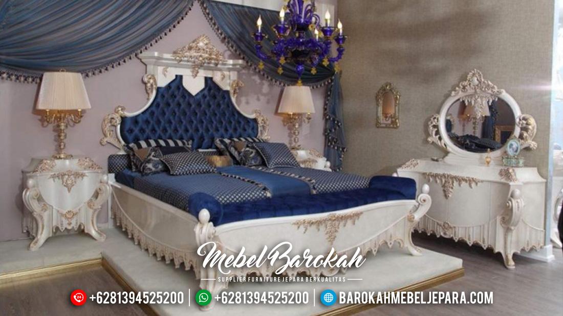 Kamar Set Mewah Jepara Ukir Klasik Duco Putih Emas Terbaru MB-0062 Gambar 1