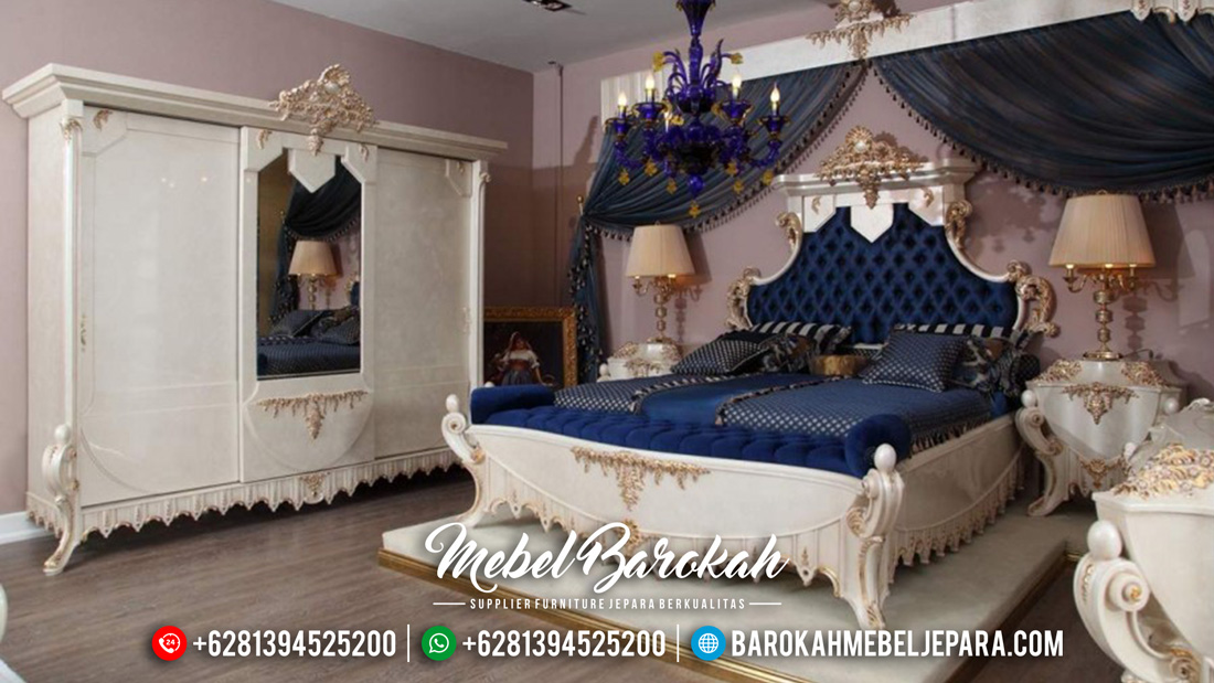 Kamar Set Mewah Jepara Ukir Klasik Duco Putih Emas Terbaru MB-0062