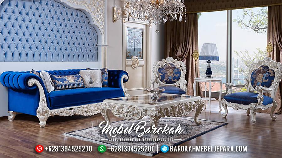 MB-0071 Sofa Tamu Jepara Set Mewah Terbaru Luxury Duco Ivory Silver