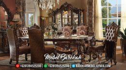 Meja Makan Jati Jepara Mewah Ukiran Klasik Terbaru Natural MB-0082
