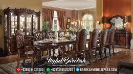 Set Kursi Meja Makan Jepara Mewah Jati Ukiran Klasik Terbaru MB-0083