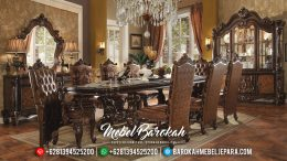 Set Meja Makan Mewah Jati Jepara Classic Carving Furniture MB-0084