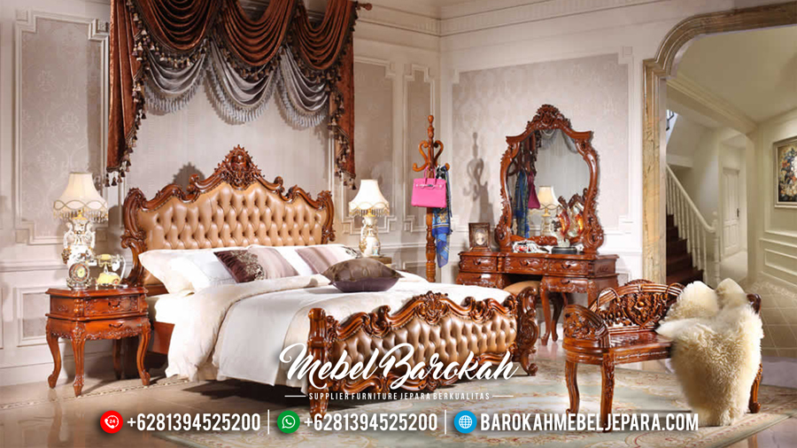 Set Tempat Tidur Jati Ukiran Jepara Mewah Terbaru Luxury Royals MB-0091