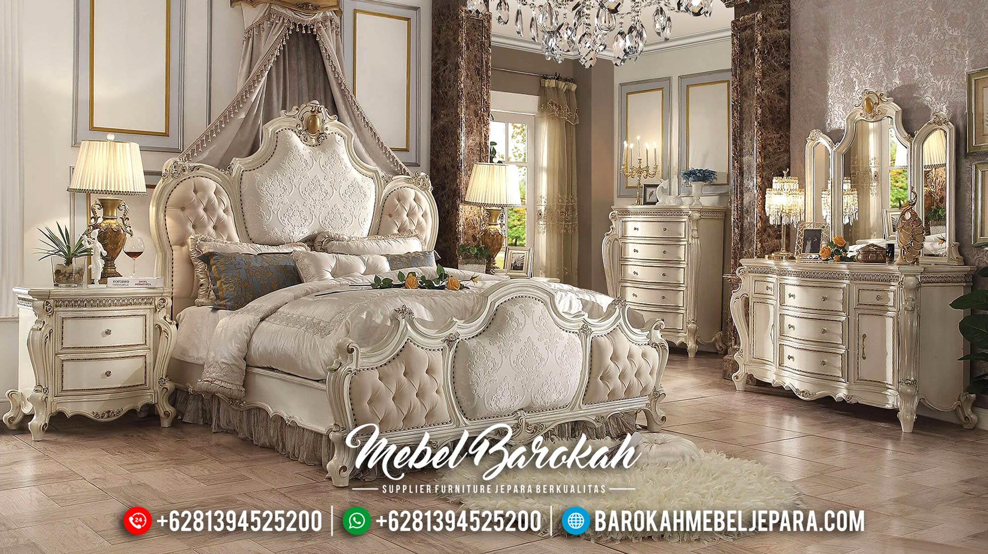 Set Kamar Tidur Mewah Jepara Klasik Elroyale MB-0116