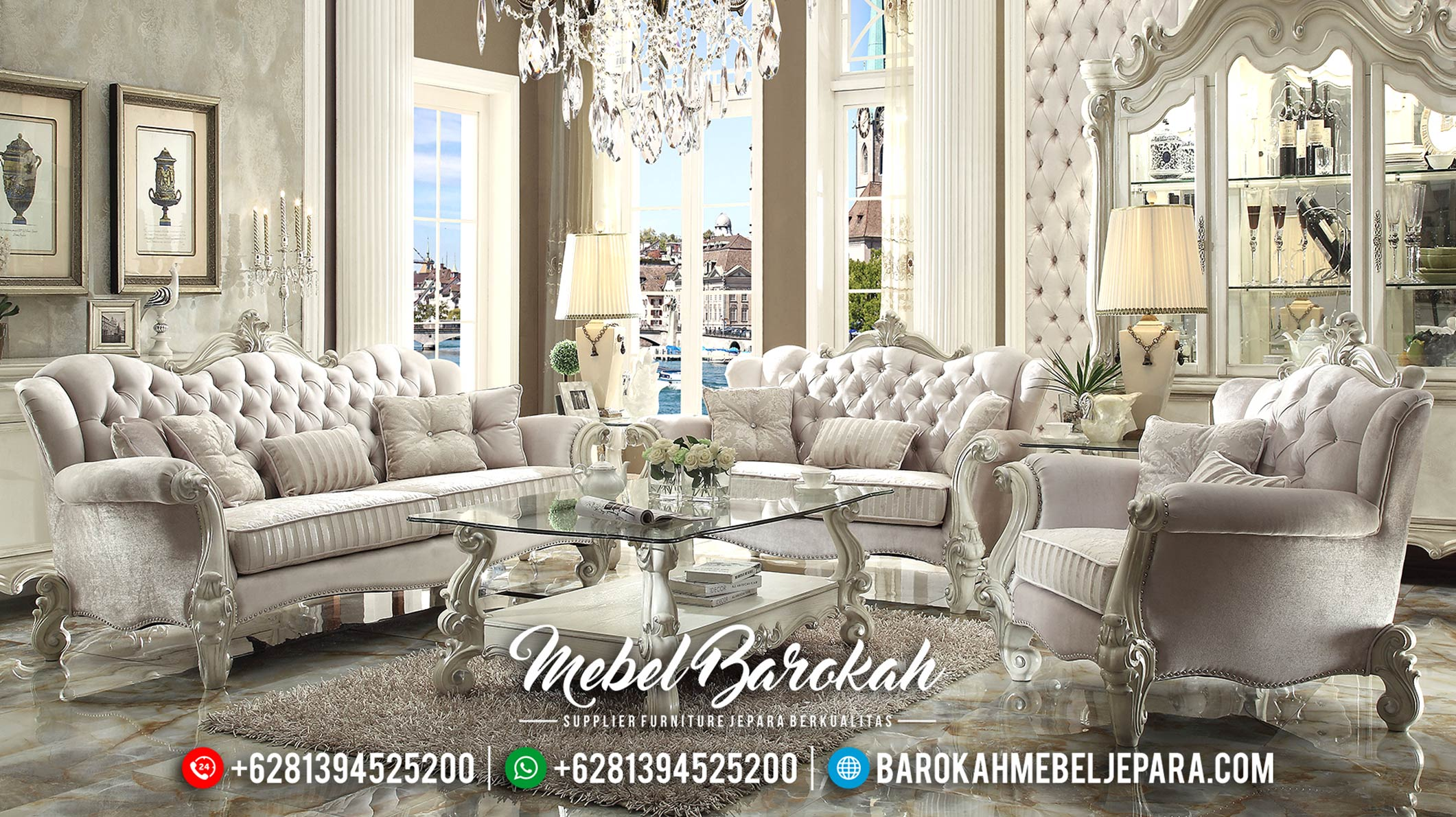 Jual 1 Set Sofa Tamu Mewah Jepara Klasik Terbaru HD Furniture MB-0128