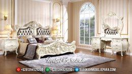 Jual 1 Set Tempat Tidur Mewah Jepara Ukiran Classic Duco Ivory MB-0135