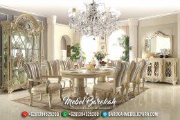 Meja Makan Mewah Jepara Classic Ukiran Terbaru Duco Ivory Silver MB-0144