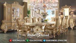 Meja Makan Mewah Jepara Terbaru Ukiran Klasik Luxury Duco Ivory Silver MB-0139