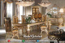 Jual Mebel Jepara Terbaru Meja Makan Mewah Klasik Seri Lexus Duco Ivory Emas MB-0149