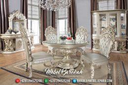 Jual Mebel Jepara Terbaru Set Meja Makan Mewah Classic Duco Silver MB-0147