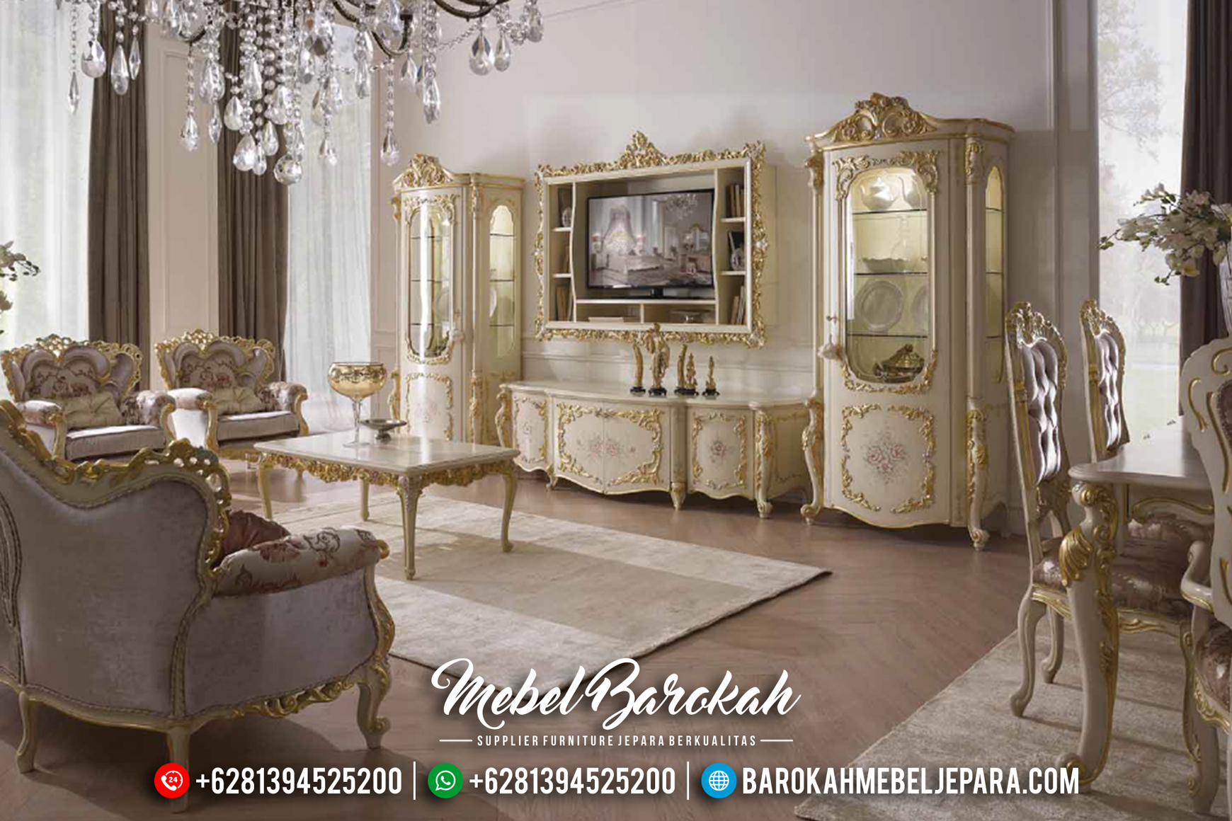 Gostinaya Sophia Bufet TV Jepara Mewah Klasik Duco Ivory Lukisan Terbaru MB-0162