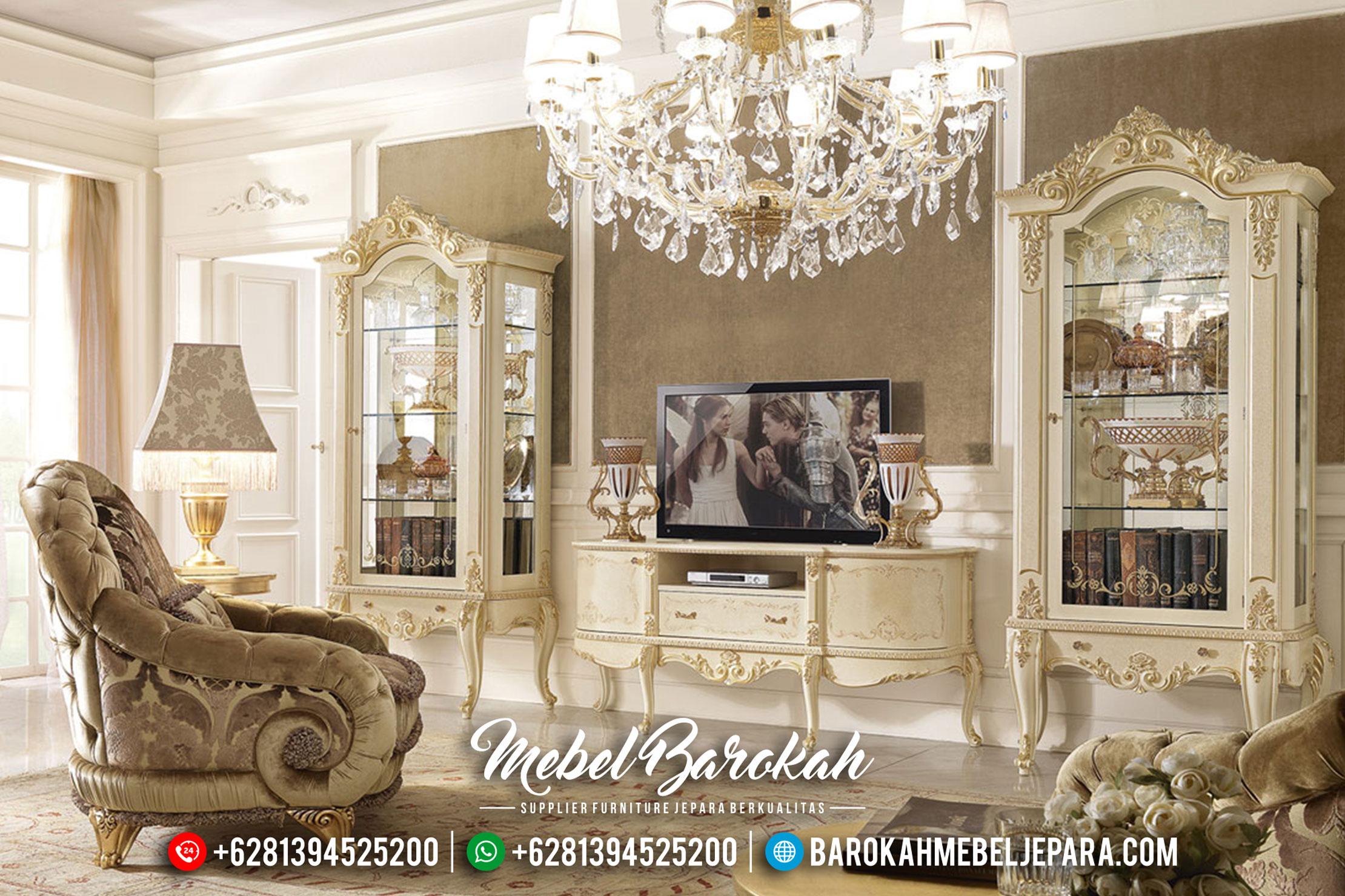 Jual Set Lemari Hias Dan Bufet TV Mewah Jepara Model Terbaru Seri David MB-0156