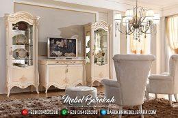 Mebel Jepara Terbaru Set Bufet TV Mewah Minimalis Duco Ivory Prestige MB-0161