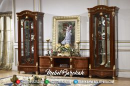 Beli Bufet TV Jepara Jati Mewah Klasik Natural Salak Finish MB-0170