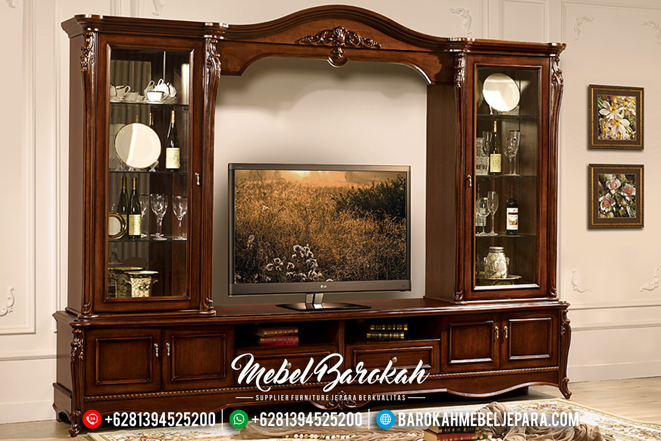 Jual Bufet TV Jepara Minimalis Mewah Victorian Natural Finish MB-0169