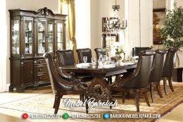 1 Set Kursi & Meja Makan Jepara Mewah 8 Dudukan Natural Terbaru Orleans MB-0196