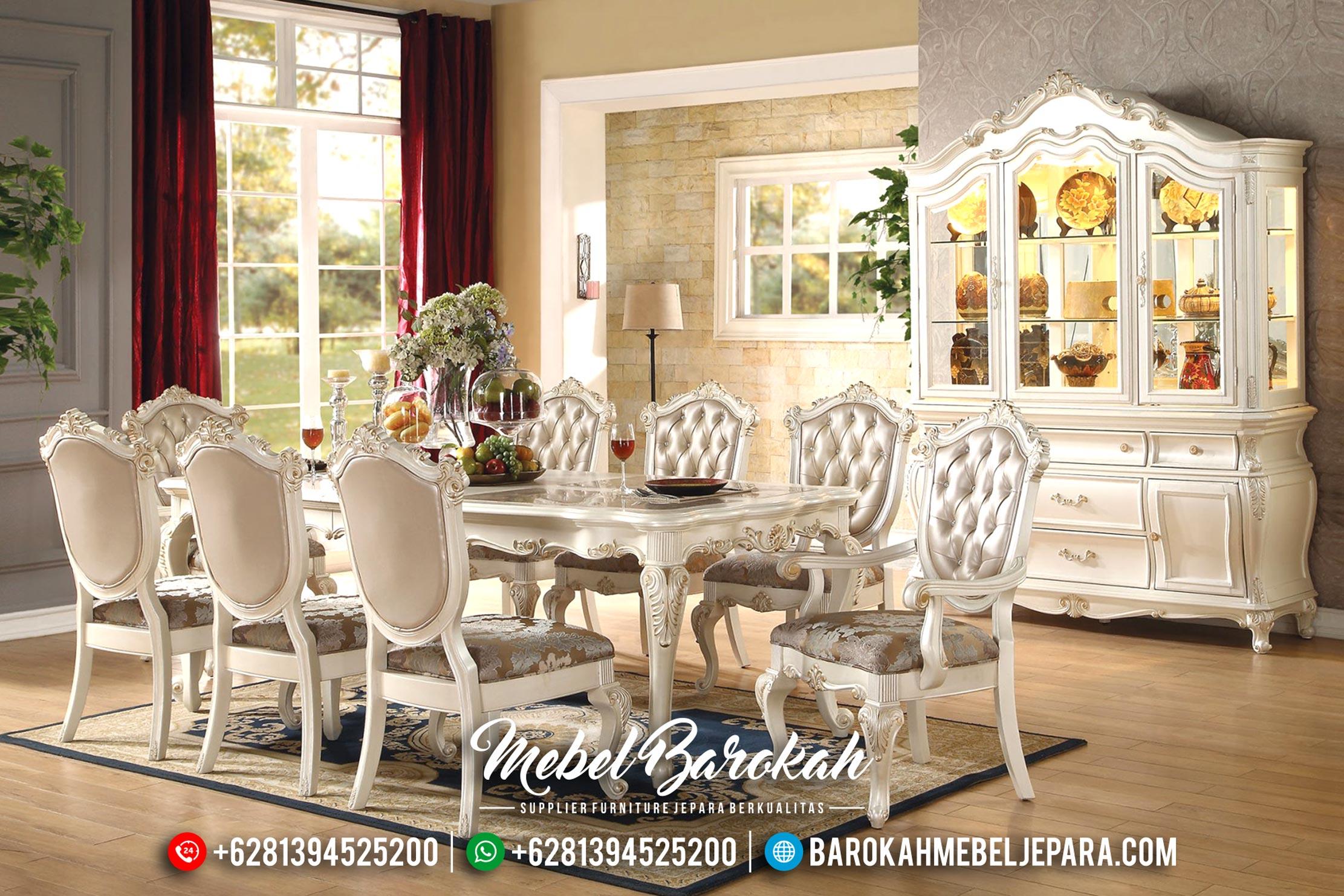 1 Set Meja Makan Jepara Mewah Klasik Duco Ivory Mutiara Keysha MB-0199
