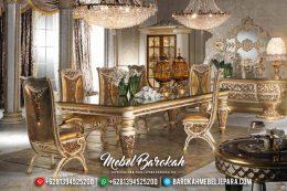 Mebel Terbaru & Klasik Meja Makan Mewah Jepara Luxus Putih Emas Duco MB-0198