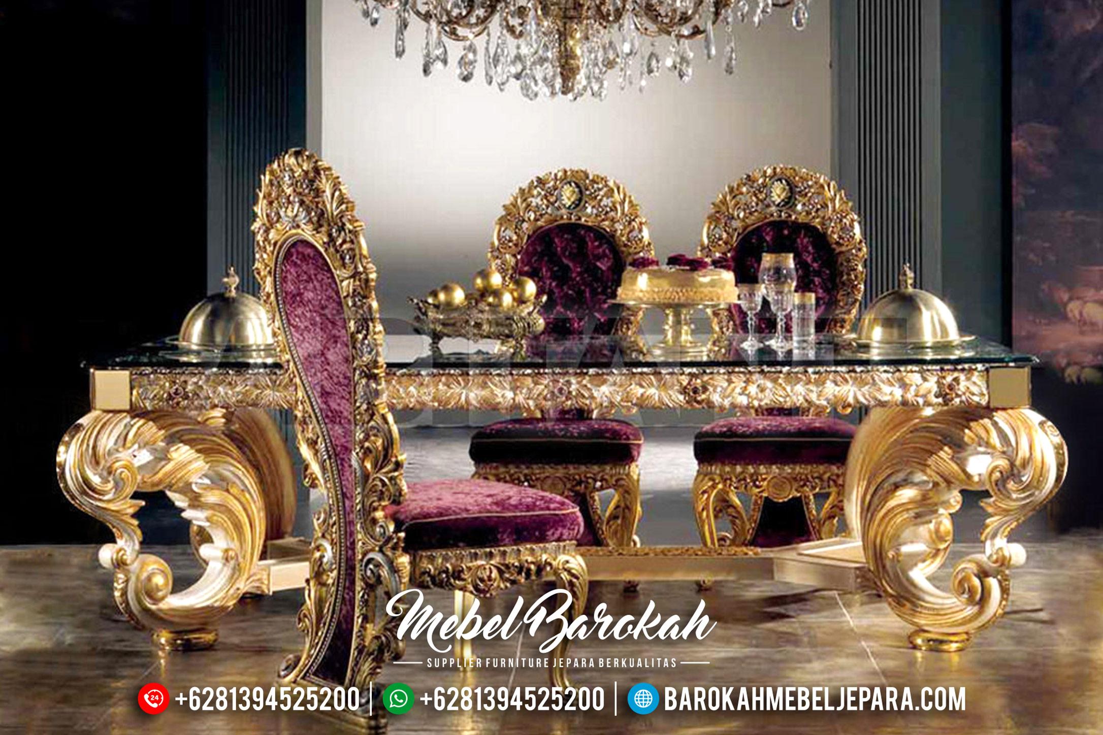 Meja Makan Mewah Jepara, Kursi Makan Klasik Duco, Meja Makan Jepara Gold Leaf MB-0197