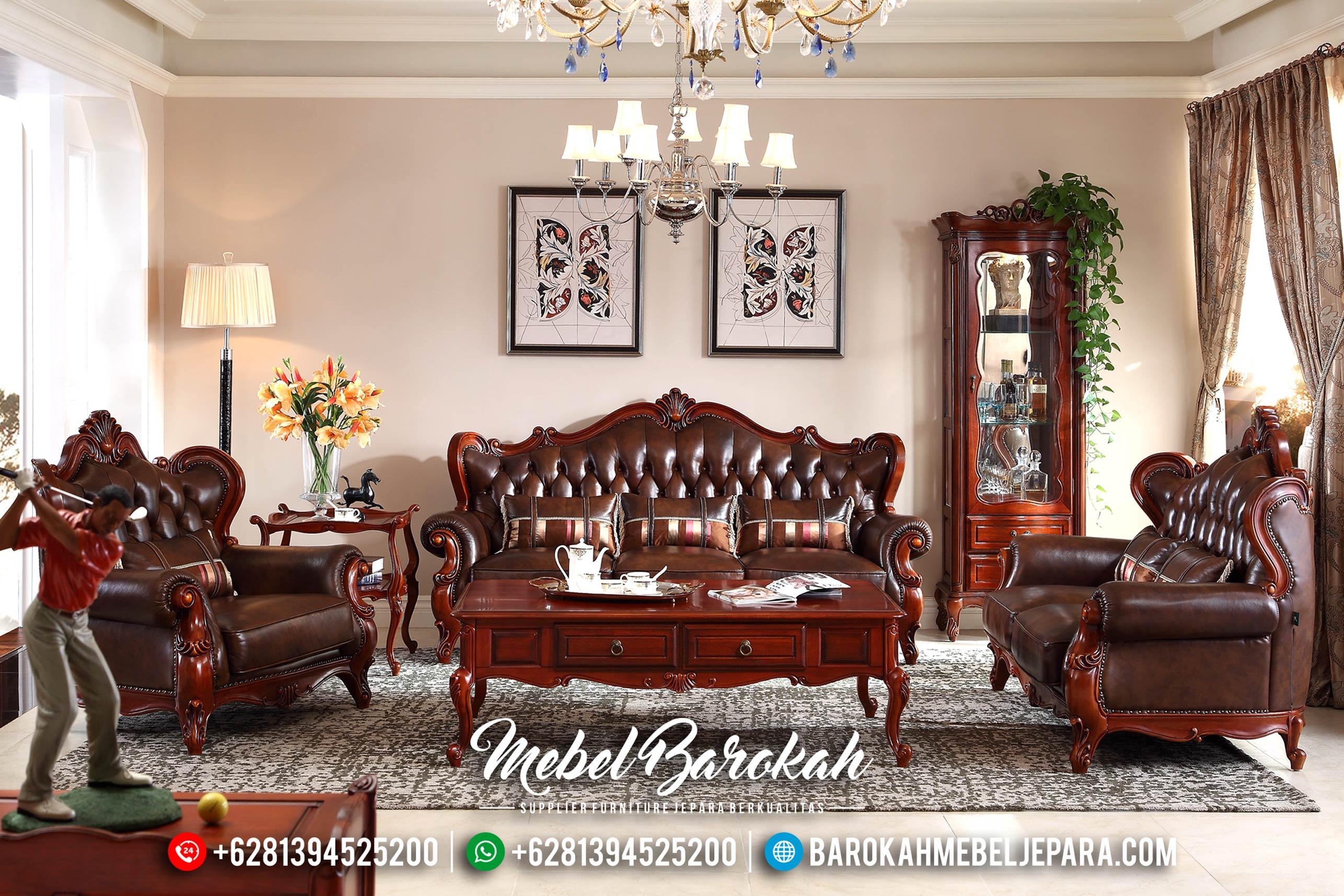 Set Sofa Tamu Jepara Jati, Kursi Terbaru Natural, Sofa Mewah Klasik MB-0194