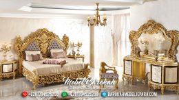 Tempat Tidur Jepara Mewah, Kamar Set Mewah Terbaru, Ranjang Ukiran Klasik Gold MB-0187
