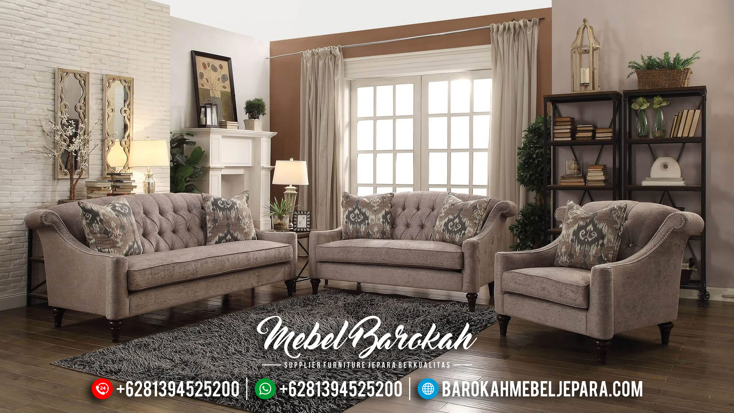 New Set Sofa Tamu Minimalis Cantik Navy Grey MB-0313