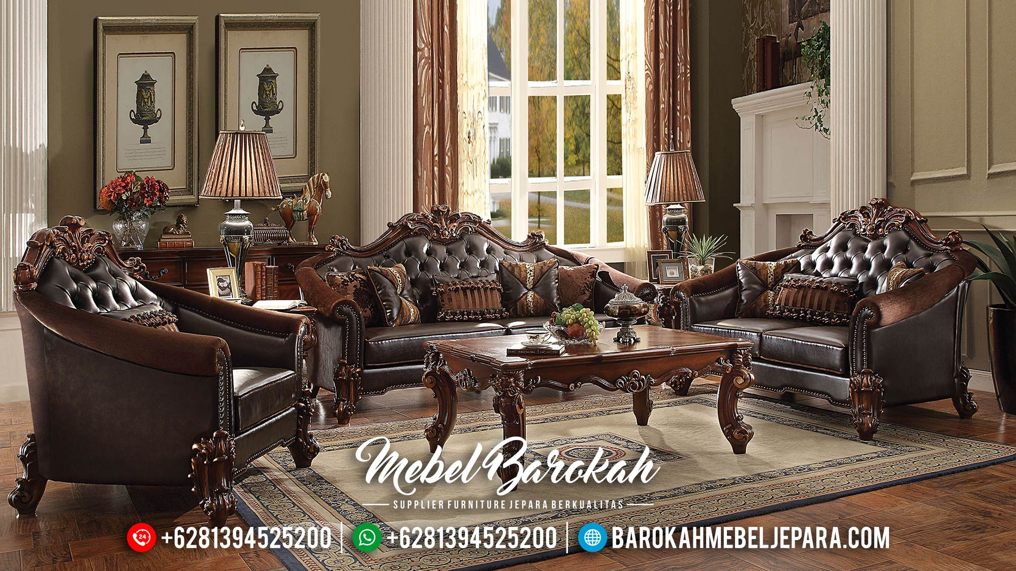 Model Sofa Tamu Mewah Jepara Jati Natural MB-0305
