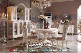 1 Set Meja Makan Bundar Duco Kombinasi Gold Leaf MB-0398
