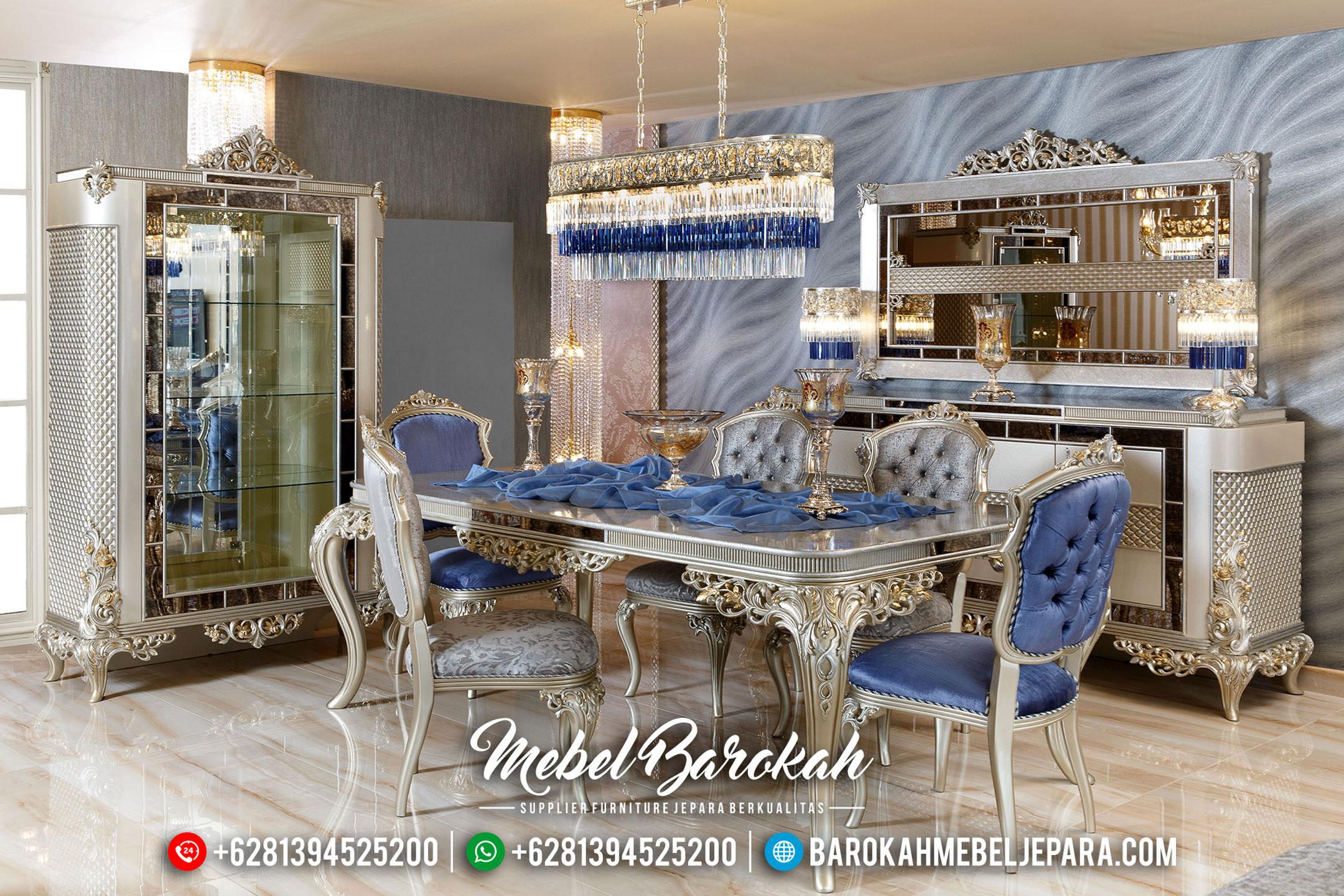 Beli Meja Makan Mewah Silver Diamond Luxury MB-0336