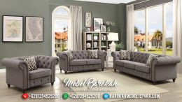 Desain 2020 Sofa Tamu Chesterfield Minimalis Modern Soft Grey MB-0431