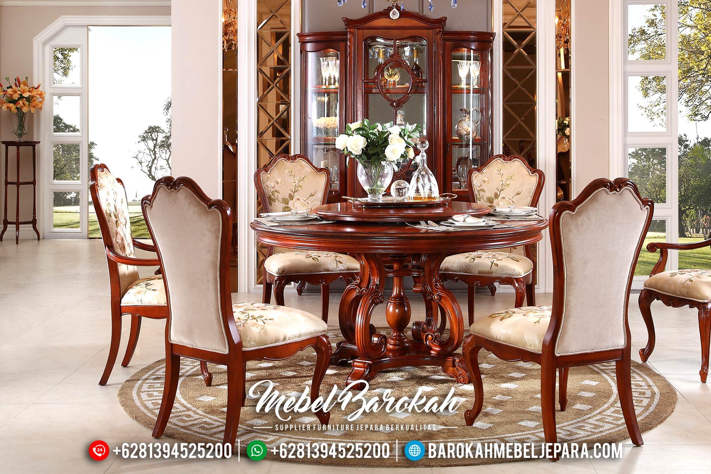 Jual Meja Makan Bundar Jati Mewah Luxury Classic MB-0391