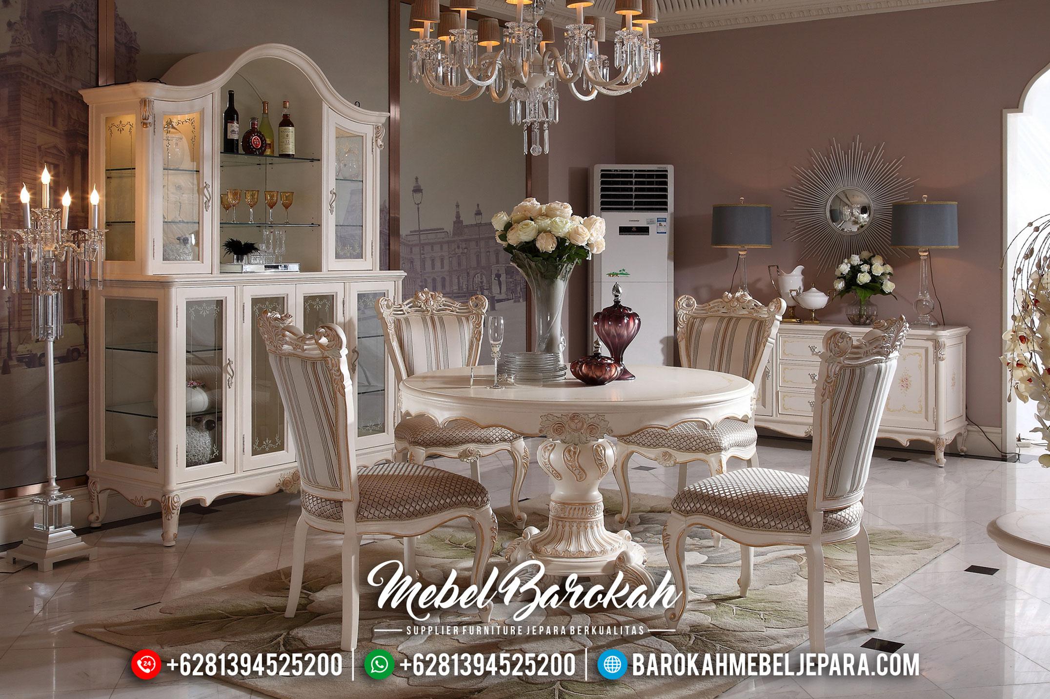 Meja Makan Mewah Bulat Kursi 4 Duco Kombinasi MB-0338