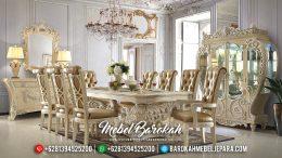 Meja Makan Mewah Duco Ivory Classic Style MB-0396