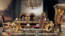 Meja Makan Mewah Jepara Gold Glossy Italian MB-0402
