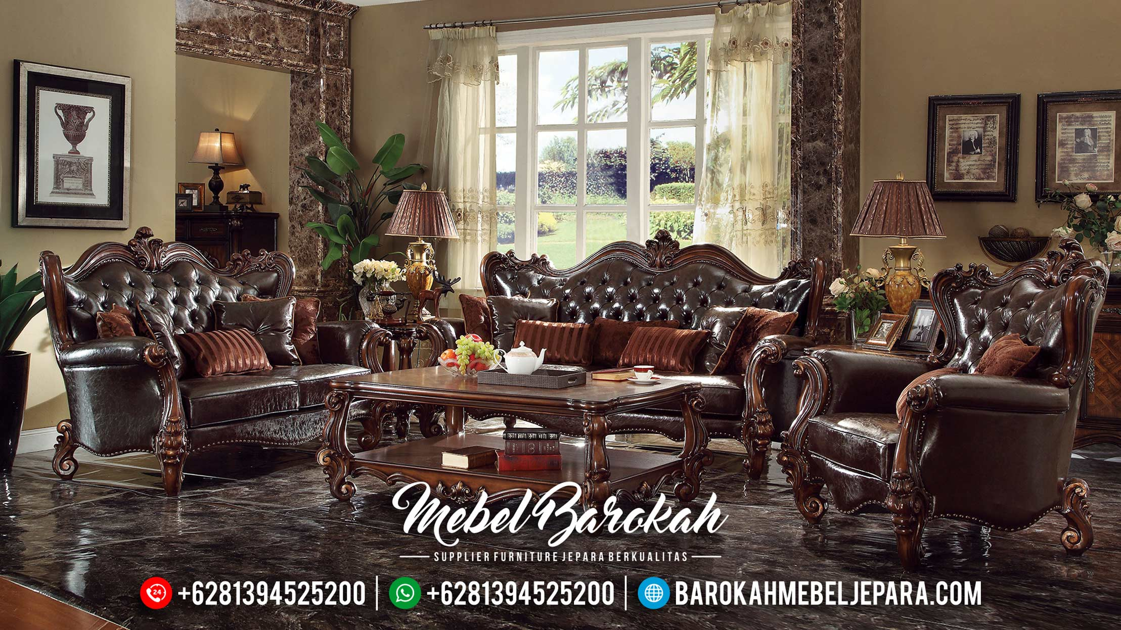 New Models Sofa Tamu Mewah Klasik Natural Jati Grade A MB-0328