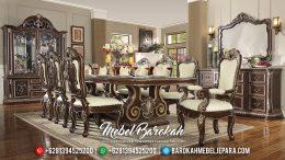 New Set Meja Makan Mewah Natural Jati Barocco MB-0329