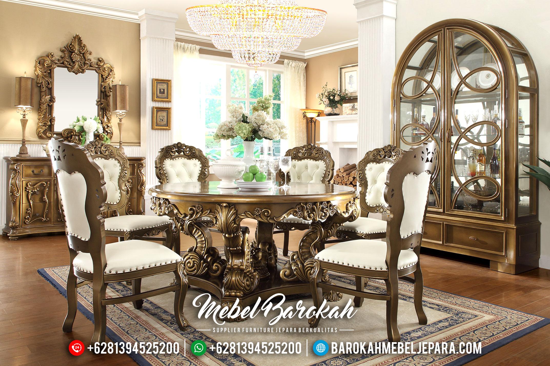Set Meja Makan Klasik Bundar Natural Jati Perhutani MB-0343