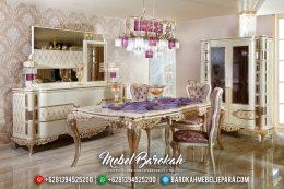Set Meja Makan Mewah Champagne Ukiran Klasik Jepara MB-0337