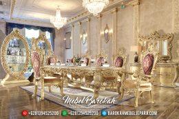 Set Meja Makan Mewah Jepara Cat Emas Gaya Sultan Arab MB-0407