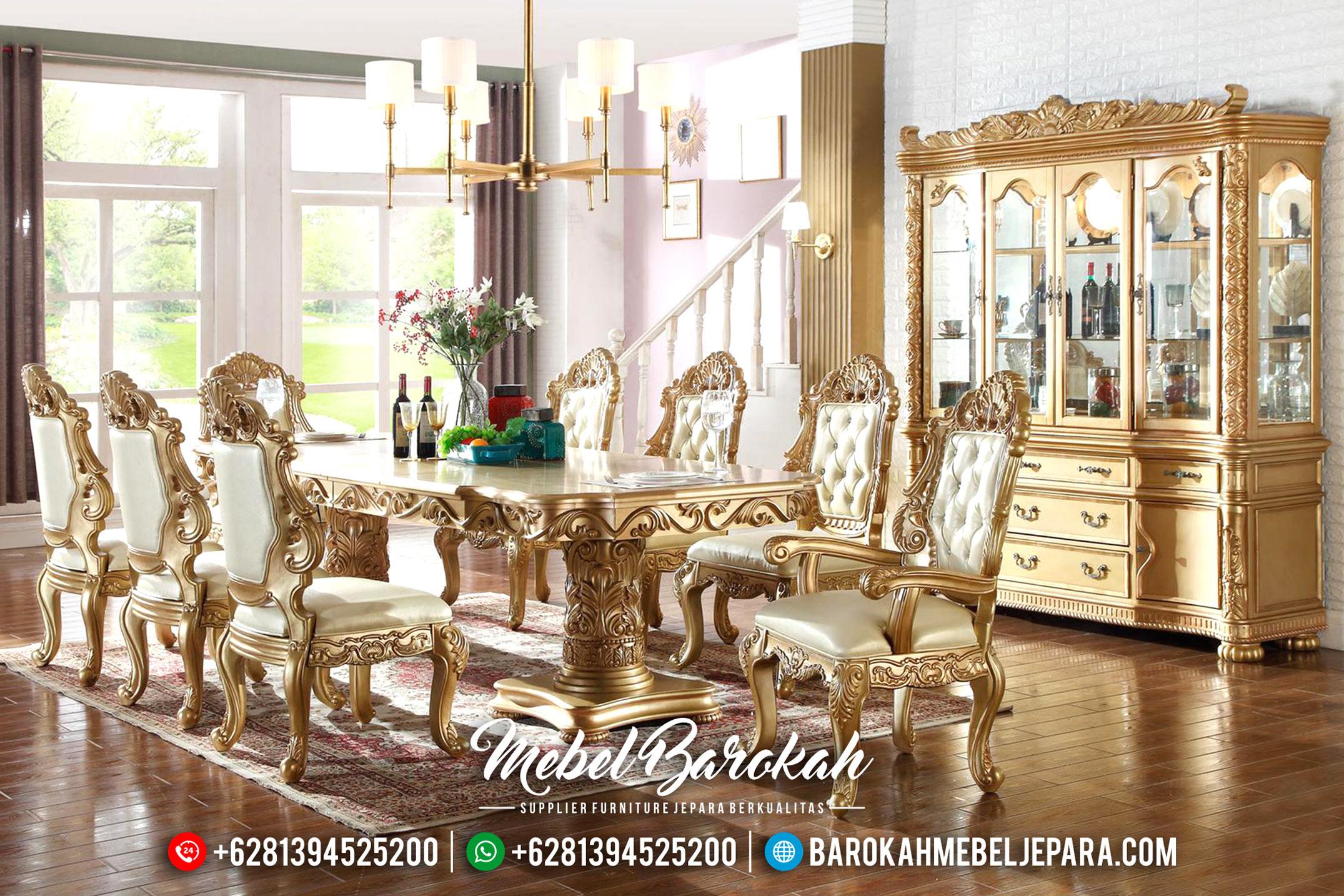 Superior Meja Makan Mewah Golden Shine Ukiran Klasik Jepara MB-0406
