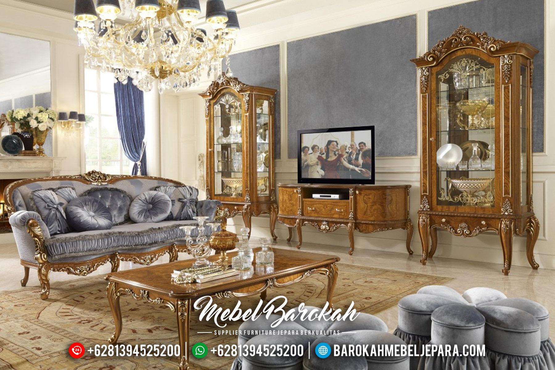 Terbaru Bufet TV Mewah Ukiran Jepara Natural Klasik MB-0340