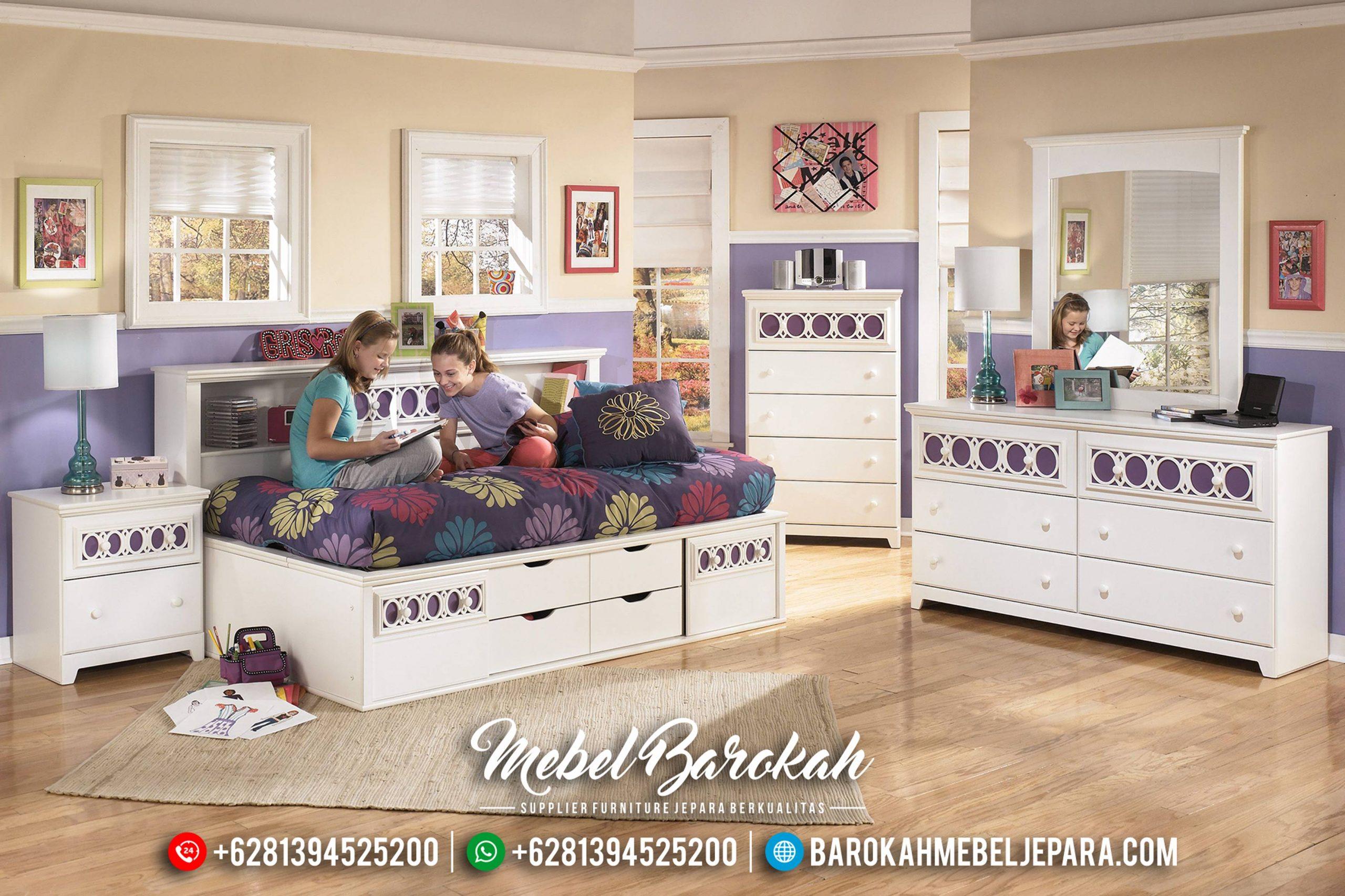 Kamar Set Anak Putih Duco Minimalis Model Laci Mebel Jepara MB-0444