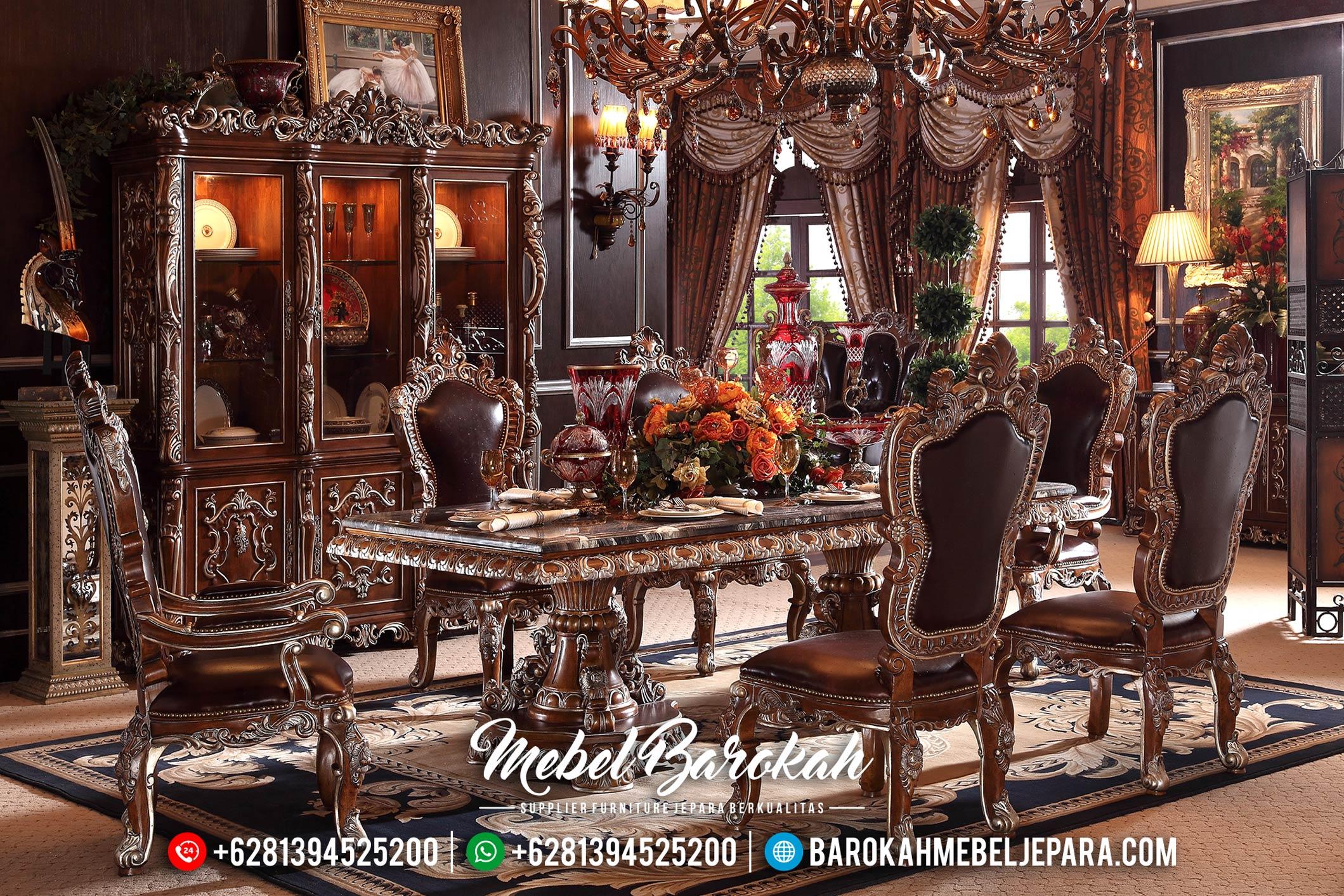 New Meja Makan Jati Natural Mewah Mebel Jepara Terbaru MB-0434
