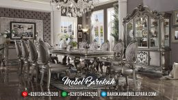 New Set Meja Makan Panjang Luxury Classic Silver Medal MB-0439