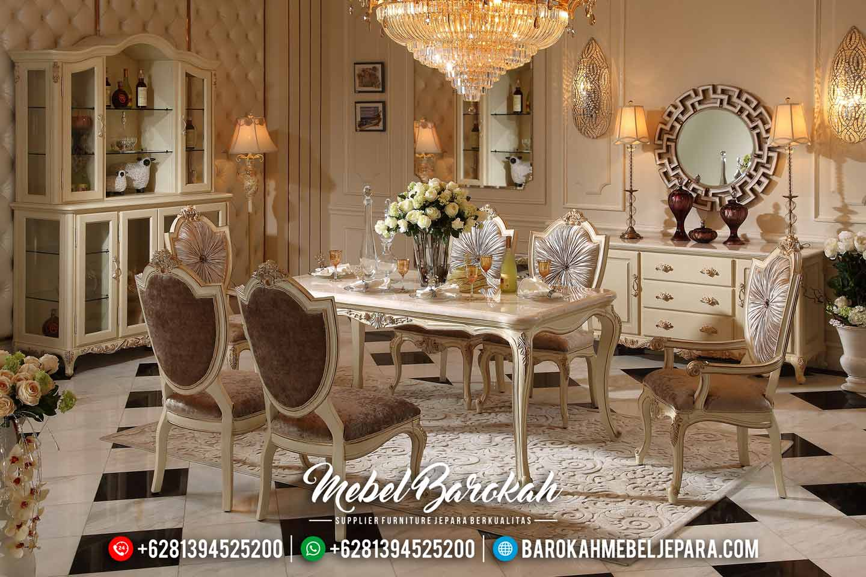 Jual Meja Makan Mewah Design New 2020 Silver Duco Glossy MB-0485