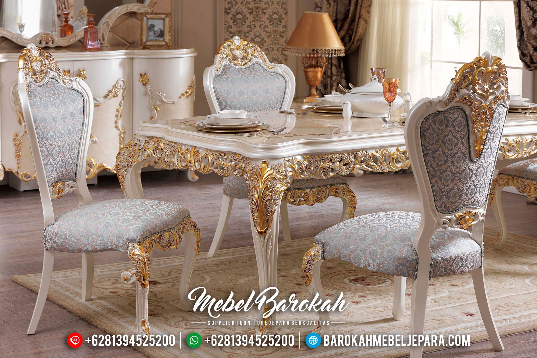 Jual Meja Makan Mewah Duco Putih Kombinasi Emas Ukiran Jepara Asli MB-0488