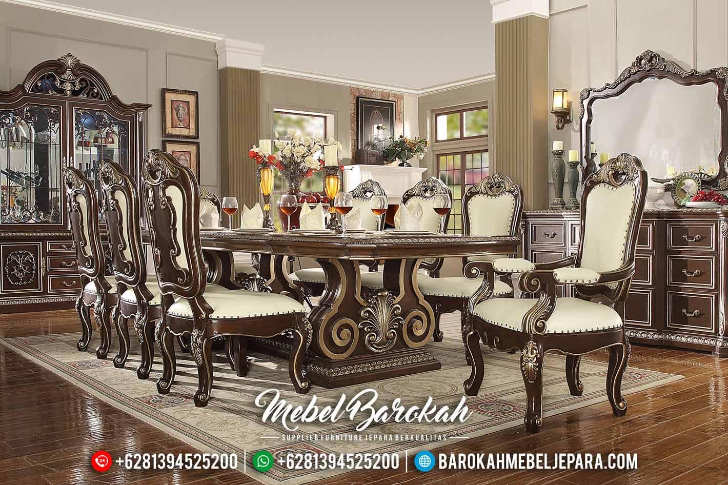 Meja Makan Mewah Desain Terbaru Luxury Classic Natural Kombinasi MB-0484