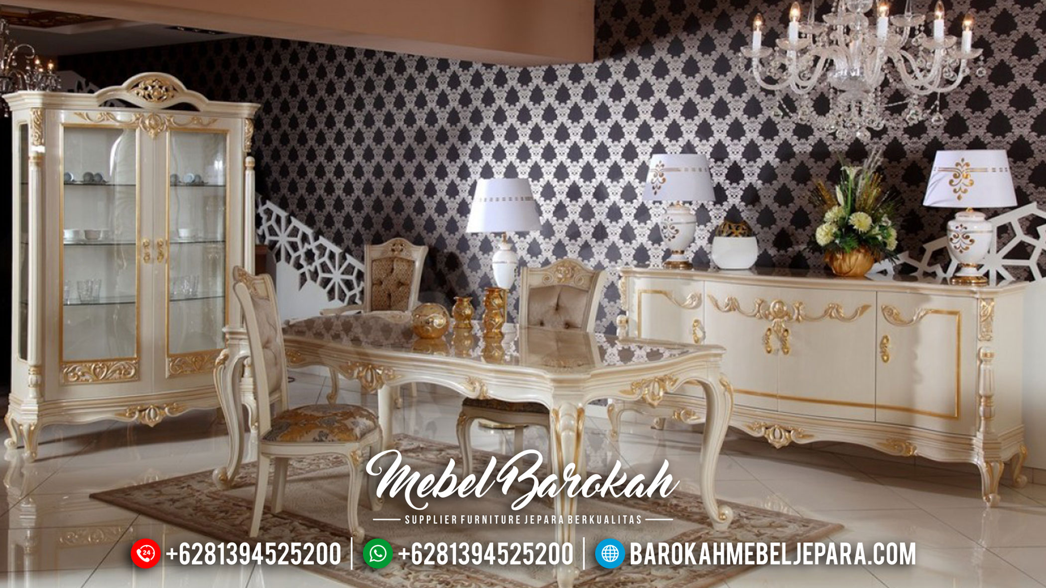 Meja Makan Mewah, Dining Set Table Luxury, Kursi Meja Makan Elegant Jepara MB-0496